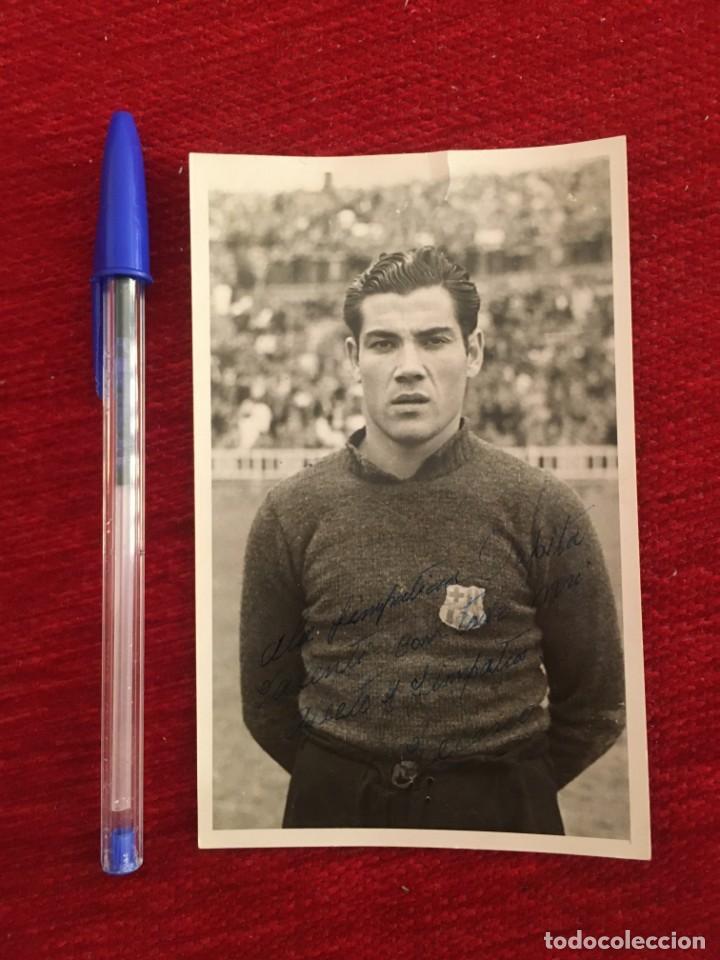 R9715 FOTO FOTOGRAFIA ORIGINAL BARCELONA JUAN ZAMBUDIO VELASCO AÑOS 40 FIRMADO AUTOGRAFO DEDICATORIA (Coleccionismo Deportivo - Documentos de Deportes - Autógrafos)