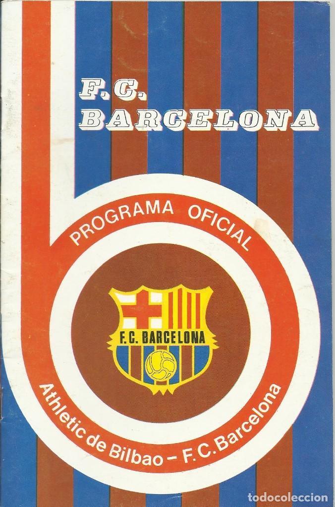 Coleccionismo deportivo: Autógrafo, firma original De la Cruz. Programa Oficial F. C. Barcelona. Athletic de Bilbao. 1975. - Foto 2 - 221700872