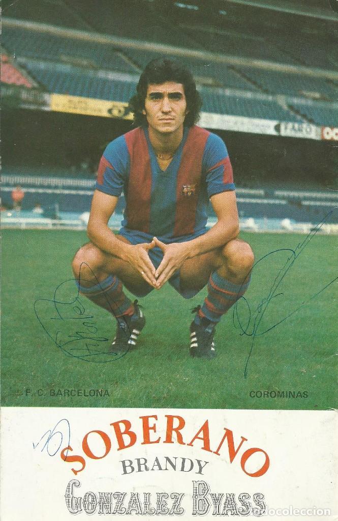 AUTÓGRAFO, FIRMA COROMINAS Y FORTES. PROGRAMA OFICIAL F. C. BARCELONA. RACING DE SANTANDER. 1975. (Coleccionismo Deportivo - Documentos de Deportes - Autógrafos)