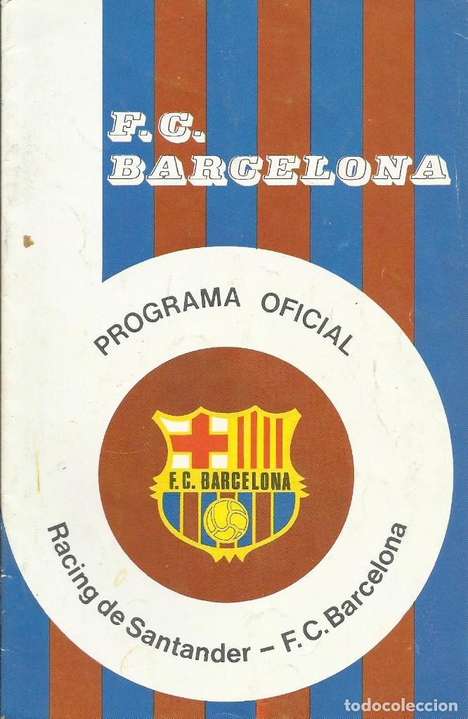 Coleccionismo deportivo: Autógrafo, firma Corominas y Fortes. Programa Oficial F. C. Barcelona. Racing de Santander. 1975. - Foto 2 - 221702170