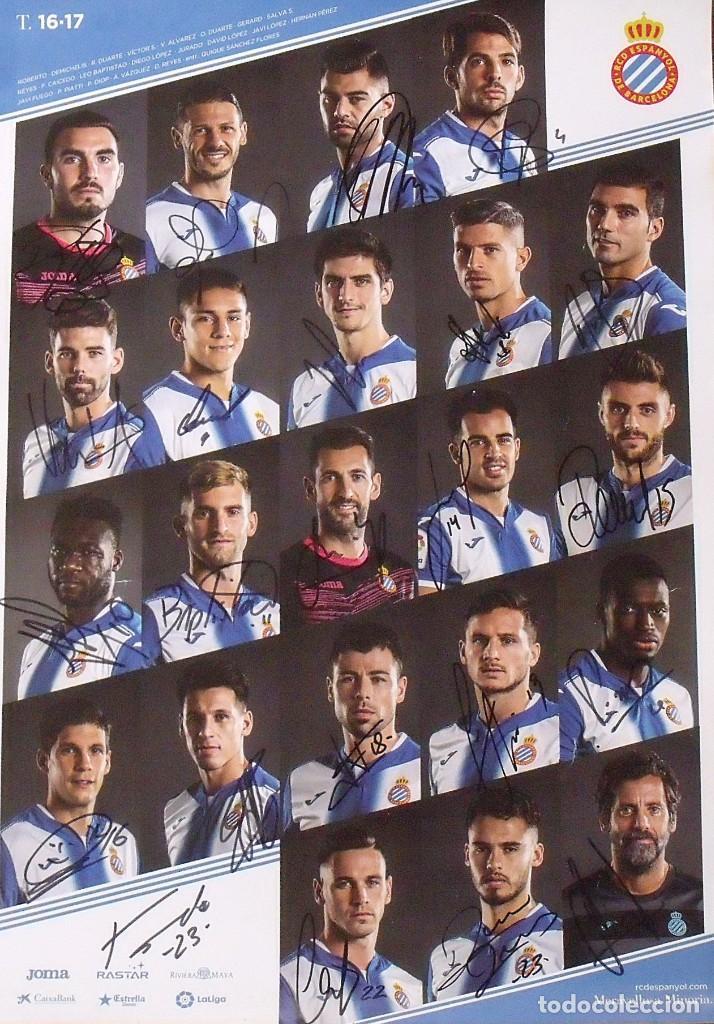 RCD ESPANYOL. 23 AUTÓGRAFOS, AUTOGRAPHS, FIRMAS ORIGINALES PLANTILLA 2016-17. POSTER CARTEL OFICIAL. (Coleccionismo Deportivo - Documentos de Deportes - Autógrafos)