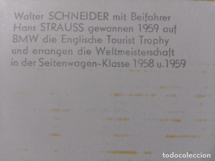 Coleccionismo deportivo: Postal firma original Walter Schneider moto sidecar BMW 1958-59 - Foto 4 - 232500312