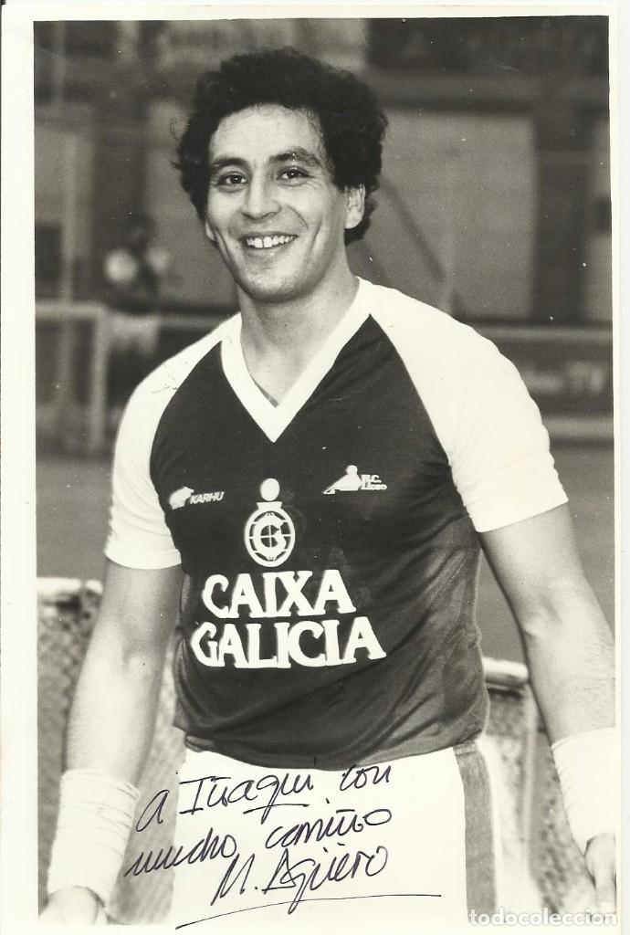 MARIO AGÜERO. AUTÓGRAFO, FIRMA. HOCKEY PATINES. LICEO CAIXA GALICIA. 1982-83. CAMPEÓN LIGA. (Coleccionismo Deportivo - Documentos de Deportes - Autógrafos)