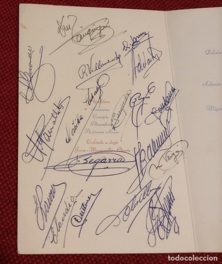 MINUTA - COPA GENERALISIMO 1957 - FIRMAS JUGADORES FUTBOL CLUB BARCELONA - KUBALA, RAMALLETS...ETC (Coleccionismo Deportivo - Documentos de Deportes - Autógrafos)