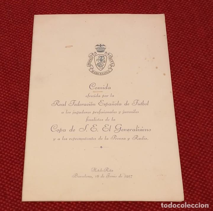 Coleccionismo deportivo: MINUTA - COPA GENERALISIMO 1957 - FIRMAS JUGADORES FUTBOL CLUB BARCELONA - KUBALA, RAMALLETS...ETC - Foto 2 - 244582915
