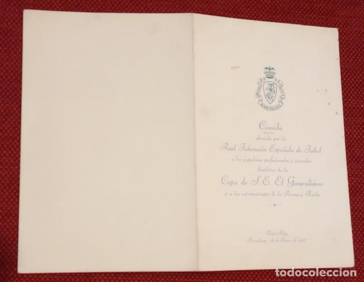 Coleccionismo deportivo: MINUTA - COPA GENERALISIMO 1957 - FIRMAS JUGADORES FUTBOL CLUB BARCELONA - KUBALA, RAMALLETS...ETC - Foto 4 - 244582915