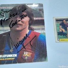 Coleccionismo deportivo: AUTÓGRAFO F. C. BARCELONA ORIGINAL ANTIGUO ( TARZAN MIGUELI) DEDICADA MÁS CROMO. VER FOTOS .. Lote 245964010