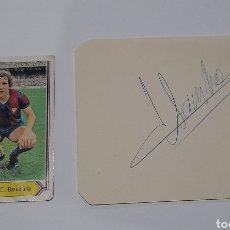 Coleccionismo deportivo: AUTÓGRAFO ORIGINAL ( SANCHEZ ) F.C. BARCELONA MÁS CROMO. VER FOTOS.. Lote 245977315