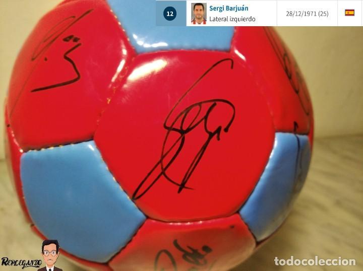 Coleccionismo deportivo: F.C. BARCELONA BALÓN AUTÓGRAFO JUGADORES 97 / 98 - FIGO XAVI RIVALDO BUSQUETS NADAL COUTO ... BARÇA - Foto 5 - 247778175