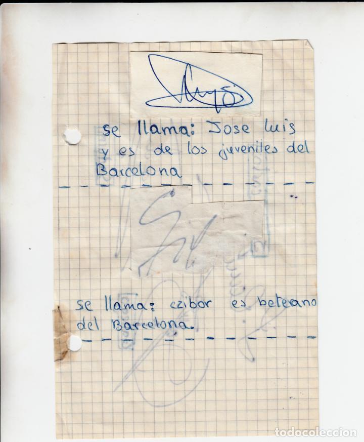 Coleccionismo deportivo: HOJA A DOS CARAS CON AUTOGRAFO DE CINCO JUGADORES DEL BARÇA: JUAN CARLOS, GALLEGO, SADURNI, CZIBOR Y - Foto 2 - 255471430