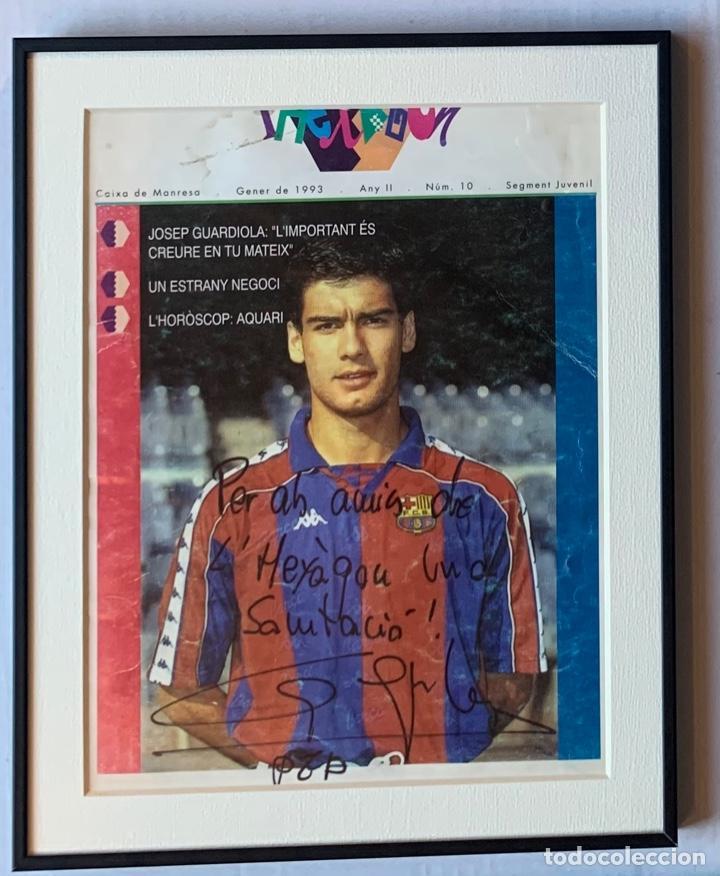Coleccionismo deportivo: AUTOGRAFO Y DEDICATORIA DE PEP GUARDIOLA A LHEXÀGON, REVISTA DE CAIXA DE NANRESA, ENERO DE 1.993, - Foto 3 - 213491932