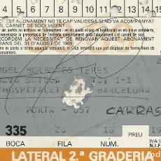 Coleccionismo deportivo: CARNET ABONAMENT ABONO 1988-89. F. C. BARCELONA. FIRMA, AUTÓGRAFO DE LOBO CARRASCO. 7X11 CM.. Lote 265928443