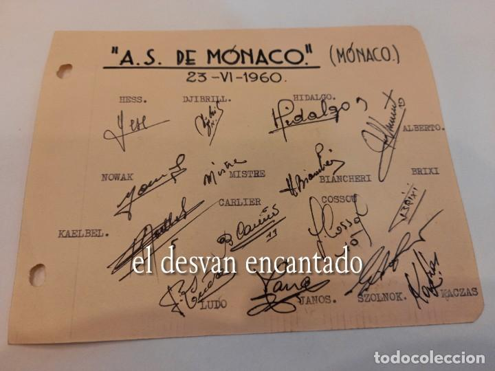 A.S. MÓNACO. AUTÓGRAFOS ORIGINALES (1960) (Coleccionismo Deportivo - Documentos de Deportes - Autógrafos)