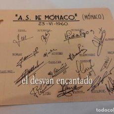 Coleccionismo deportivo: A.S. MÓNACO. AUTÓGRAFOS ORIGINALES (1960). Lote 270627693
