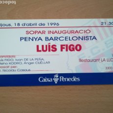 Colecionismo desportivo: INAUGURACIÓN DE LA PEÑA BARCELONISTA LUIS FIGO. FIRMAS EN REVERSO.. Lote 272727198