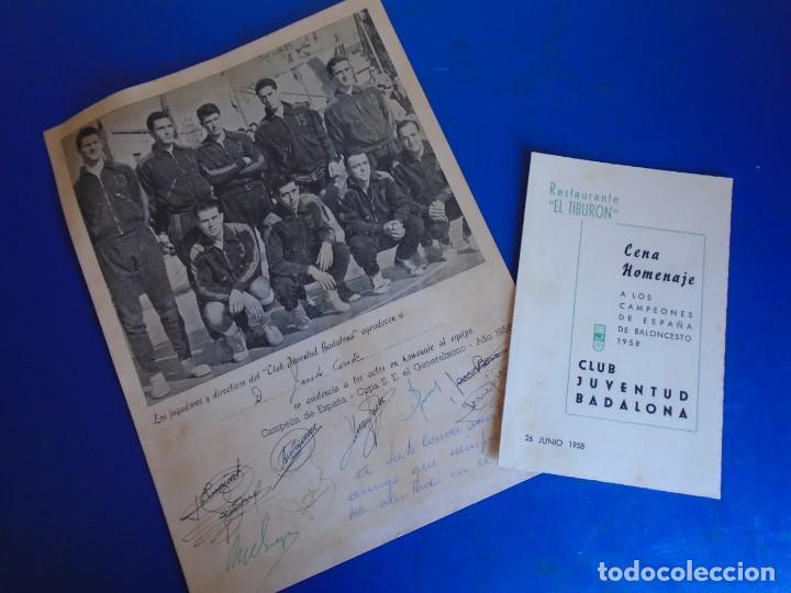 (F-210700)HOMENAJE C.B.JOVENTUD BADALONA CAMPEON COPA S.E.GENERALISIMO 1958-DEDICADA A JUSTO CONDE (Coleccionismo Deportivo - Documentos de Deportes - Autógrafos)