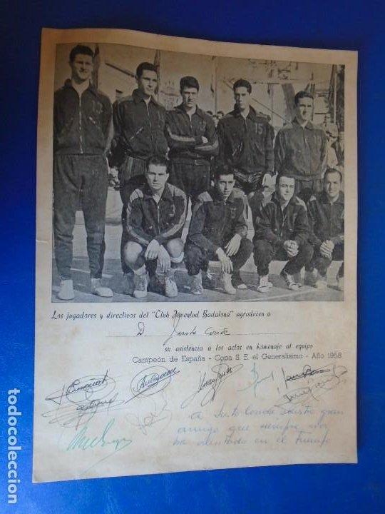 Coleccionismo deportivo: (F-210700)HOMENAJE C.B.JOVENTUD BADALONA CAMPEON COPA S.E.GENERALISIMO 1958-DEDICADA A JUSTO CONDE - Foto 2 - 273185858