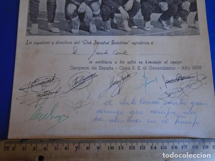 Coleccionismo deportivo: (F-210700)HOMENAJE C.B.JOVENTUD BADALONA CAMPEON COPA S.E.GENERALISIMO 1958-DEDICADA A JUSTO CONDE - Foto 4 - 273185858