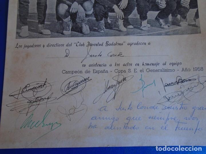 Coleccionismo deportivo: (F-210700)HOMENAJE C.B.JOVENTUD BADALONA CAMPEON COPA S.E.GENERALISIMO 1958-DEDICADA A JUSTO CONDE - Foto 6 - 273185858