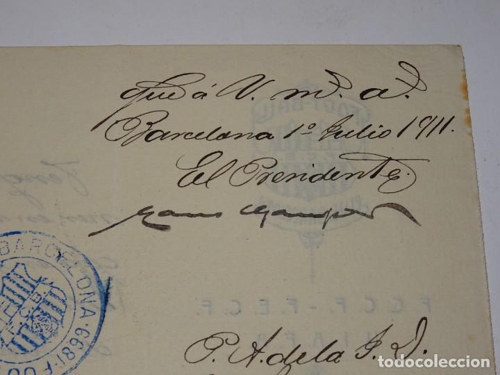 ESPECTACULAR CARTA ORIGINAL DEL FC BARCELONA FIMADA POR HANS GAMPER Y FRANCESC BRÚ, AÑO 1911 (Coleccionismo Deportivo - Documentos de Deportes - Autógrafos)