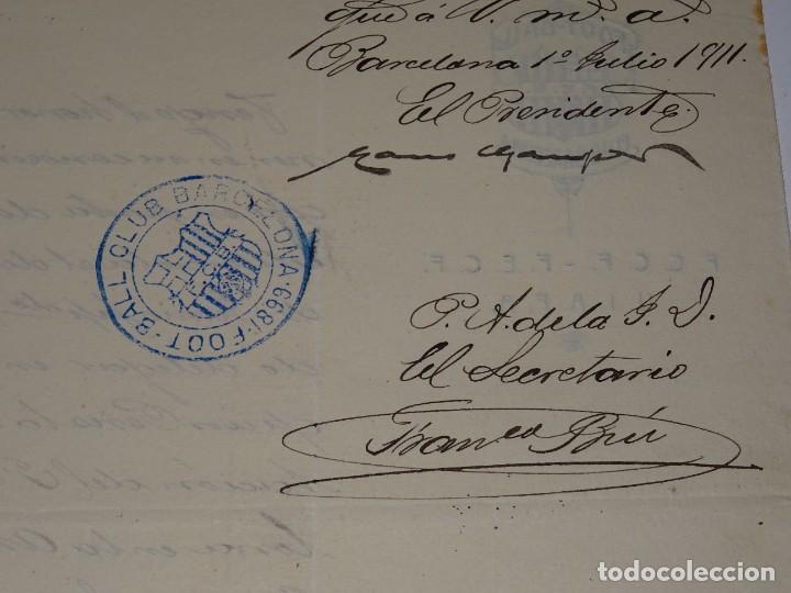 Coleccionismo deportivo: Espectacular Carta Original del FC Barcelona Fimada por Hans Gamper y Francesc Brú, Año 1911 - Foto 2 - 274227283
