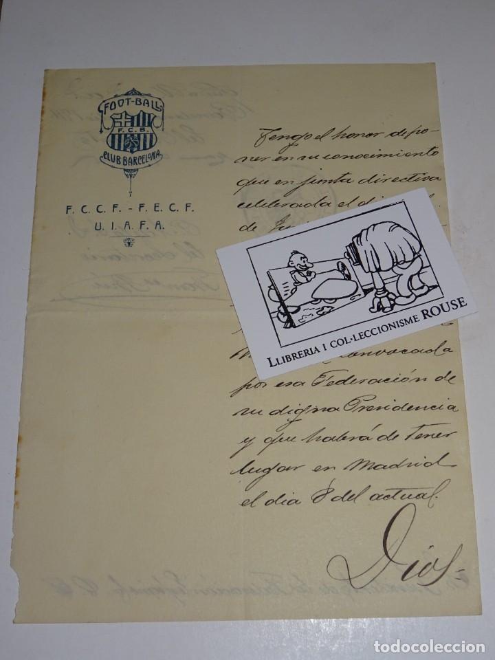 Coleccionismo deportivo: Espectacular Carta Original del FC Barcelona Fimada por Hans Gamper y Francesc Brú, Año 1911 - Foto 3 - 274227283