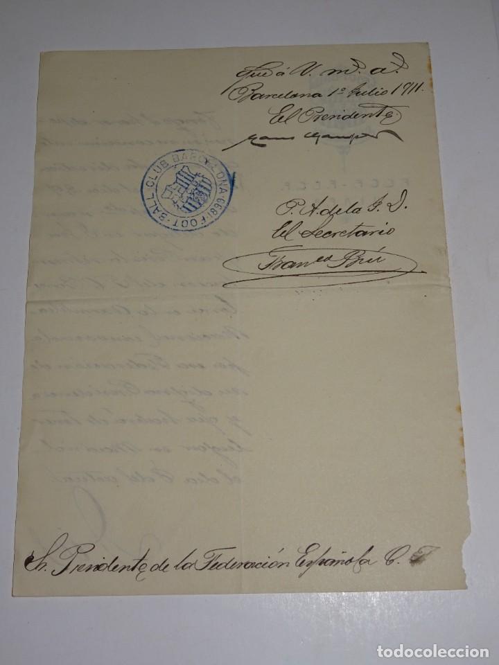 Coleccionismo deportivo: Espectacular Carta Original del FC Barcelona Fimada por Hans Gamper y Francesc Brú, Año 1911 - Foto 4 - 274227283