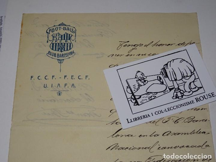 Coleccionismo deportivo: Espectacular Carta Original del FC Barcelona Fimada por Hans Gamper y Francesc Brú, Año 1911 - Foto 5 - 274227283