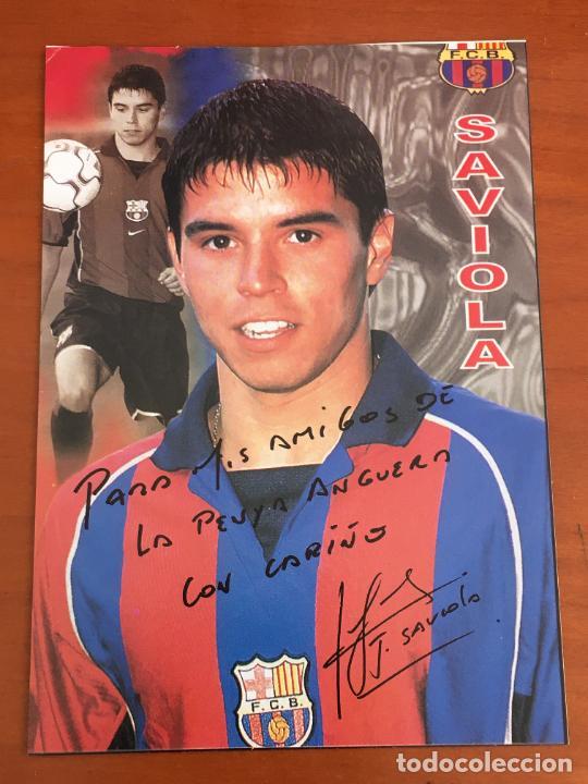 JAVIER SAVIOLA FUTBOL CLUB BARCELONA POSTAL ORIGINAL CON AUTOGRAFO (Coleccionismo Deportivo - Documentos de Deportes - Autógrafos)