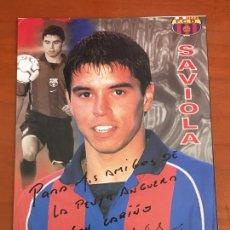 Coleccionismo deportivo: JAVIER SAVIOLA FUTBOL CLUB BARCELONA POSTAL ORIGINAL CON AUTOGRAFO. Lote 274228793