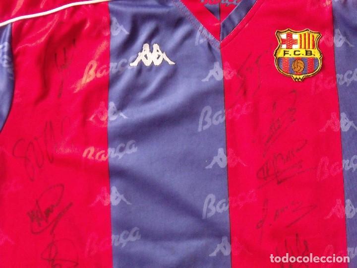 Coleccionismo deportivo: Camiseta F. C. Barcelona. 1992-1993. Dream Team. 20 autógrafos, autographs, firmas. Match worn Kappa - Foto 4 - 276009748