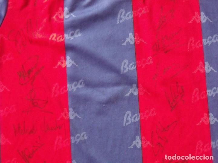 Coleccionismo deportivo: Camiseta F. C. Barcelona. 1992-1993. Dream Team. 20 autógrafos, autographs, firmas. Match worn Kappa - Foto 5 - 276009748
