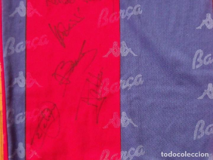 Coleccionismo deportivo: Camiseta F. C. Barcelona. 1992-1993. Dream Team. 20 autógrafos, autographs, firmas. Match worn Kappa - Foto 12 - 276009748