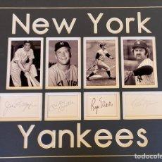 Coleccionismo deportivo: AUTÓGRAFOS JUGADORES NEW YORK YANKEES LEYENDAS BÉISBOL: MANTLE, MARIS, DIMAGGIO, MUNSON. Lote 276124818