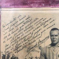 Coleccionismo deportivo: CUADRO ENMARCADO DEL FUTBOLISTA RICARDO ZAMORA CON DEDICATORIA Y AUTOGRAFO. OCTUBRE 1930. Lote 285253698