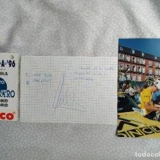Coleccionismo deportivo: AUTOGRAFO Y FOTOGRAFIA CICLISTA ALEX ZULLE JUNTO CON MANOLO SAIZ + PASE , VER FOTOS Y LEER. Lote 287649843