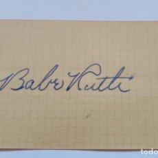 Coleccionismo deportivo: AUTOGRAFO DE BABE RUTH BEISBOL AMERICANO. Lote 296621473