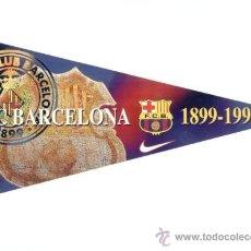 Coleccionismo deportivo: ADHESIVO BANDERIN 1899-1998. FC BARCELONA. BARÇA. MEDIDAS 15 X 31. NUEVO. FUTBOL. PEGATINA.. Lote 26913472