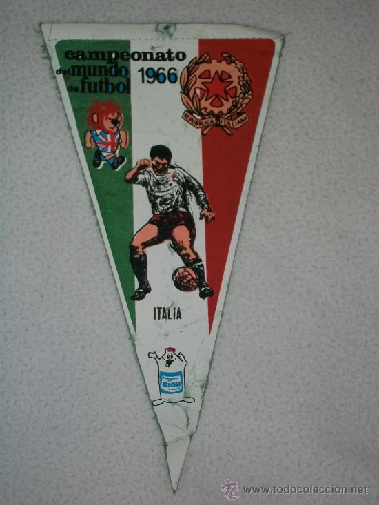 BANDERIN DE FUTBOL MUY ANTIGUO CAMPEONATO DEL MUNDO DE FUTBOL 1966 ITALIA GIOR (Coleccionismo Deportivo - Banderas y Banderines de Fútbol)