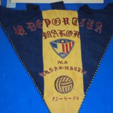 Coleccionismo deportivo: (BB-13)BANDERIN FUTBOL U.D.MAHON A LA U.D.SAN MARTIN 13-4-52. Lote 30642961