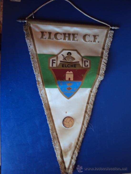 (BA-66)BANDERIN GRANDE AÑOS 70 ELCHE C.F.(26 X 45 CM.) (Coleccionismo Deportivo - Banderas y Banderines de Fútbol)