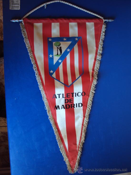 (BA-72)BANDERIN GRANDE AÑOS 70 AT.MADRID(24 X 45 CM.) (Coleccionismo Deportivo - Banderas y Banderines de Fútbol)