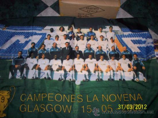 Coleccionismo deportivo: BANDERA MADRID CAMPEON LA NOVENA GLASGOW - Foto 2 - 47781629