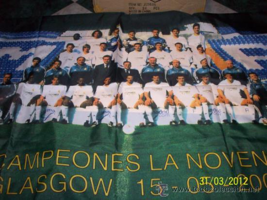 BANDERA MADRID CAMPEON LA NOVENA GLASGOW (Coleccionismo Deportivo - Banderas y Banderines de Fútbol)