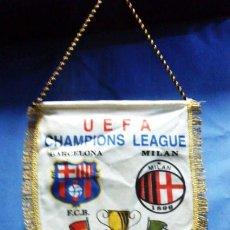 Coleccionismo deportivo: BANDERIN - FC BARCELONA / BARÇA - MILAN - FINAL CHAMPIONS LEAGUE / UEFA - ATENAS- TELA SEDA -AÑOS 94. Lote 34081328
