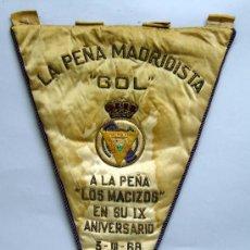 Collectionnisme sportif: BANDERÍN PEÑA MADRIDISTA GOL A LA PEÑA LOS MACIZOS IX ANIVERSARIO 1968 REAL MADRID. Lote 32648310