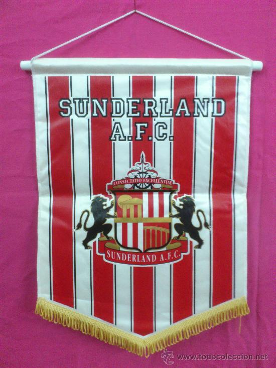 BANDERIN FUTBOL ESCUDO SUNDERLAND A.F.C. ( INGLATERRA ). GRANDES DIMENSIONES (Coleccionismo Deportivo - Banderas y Banderines de Fútbol)