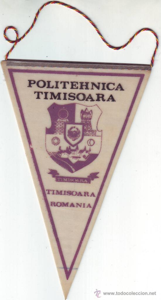 BANDERIN POLITEHNICA TIMISOARA RUMANIA/ROMANIA.1989. (Coleccionismo Deportivo - Banderas y Banderines de Fútbol)