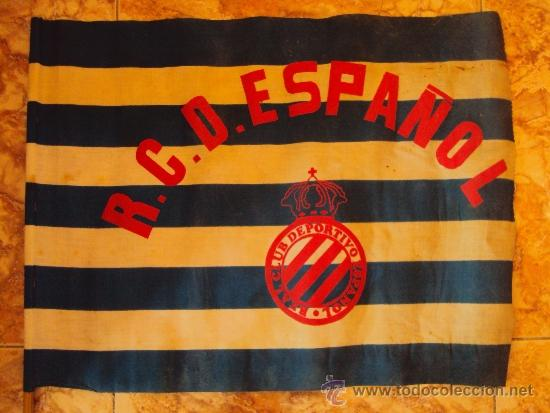 (F-543)BANDERA DEL R.C.D.ESPAÑOL POSIBLEMENTE AÑOS 70 (Coleccionismo  Deportivo - 6e89aed7fee