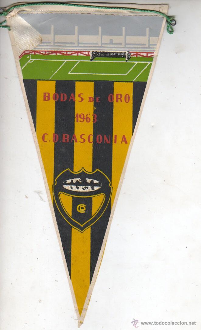 MUY BUEN BANDERIN FUTBOL - BODAS DE ORO DE L C.D. BASCONIA 1963 DE LA ÉPOCA (Coleccionismo Deportivo - Banderas y Banderines de Fútbol)